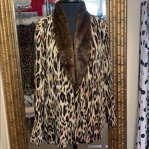 Shawl collar,animal print cardigan/jacket